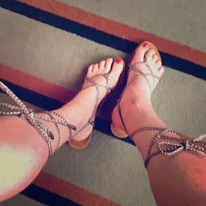Colin Stuart Silver Lace-Up Sandals Size 10